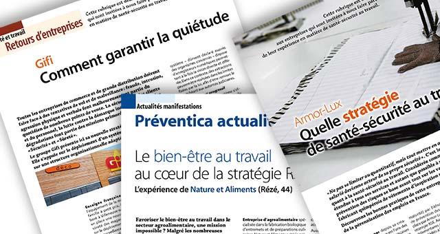 Articles de presse pour Préventica : témoignages de GIFI, Armor-Lux et Nature et Aliments