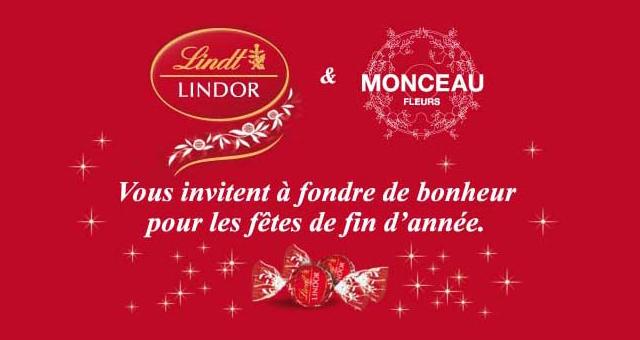 Partenariat de co-branding échantillonnage Lindt-Monceau Fleurs