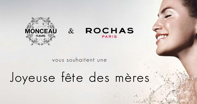 Partenariat de co-branding échantillonnage Rochas-Monceau Fleurs