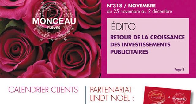 Couverture de l'EMAG, le magazine des franchisés Monceau Fleurs